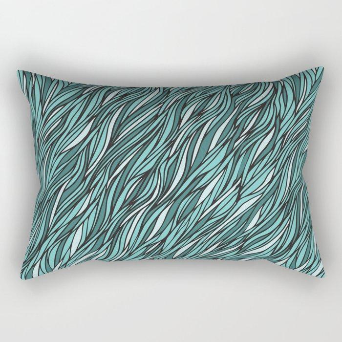 Cyan wave pattern Rectangular Pillow