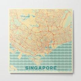 Singapore Map Retro Metal Print