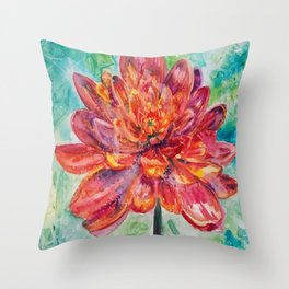 Chrysanthemum Abstract Throw Pillow