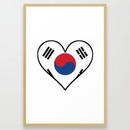 South Korean Flag Heart Framed Art Print