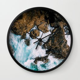 Ocean Waves Crushing On Rocky Landscape, Drone Photography, Aerial Landscape Photo, Ocean Wall Art Wall Clock