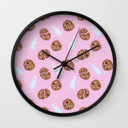 Milk and chocolate chips cookies pink Wall Clock