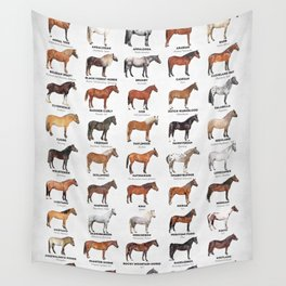 Horse Breeds Of The World Wall Tapestry