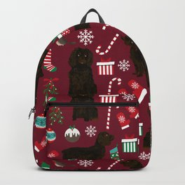 Boykin Spaniel christmas pattern dog breed presents stockings candy canes Backpack
