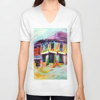 singapore V-neck T-shirts featuring Club Street, Singapore by Kasia Pawlak
