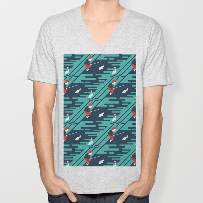 Fishing on the Dock Pattern Unisex V-Neck