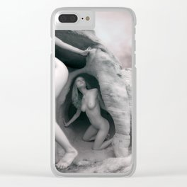 6228 BW Three Desert Art Nude Women Among Rocks Clear iPhone Case