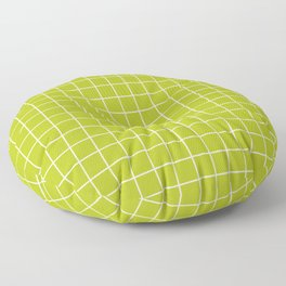 Acid Green - Green Color - White Lines Grid Pattern Floor Pillow