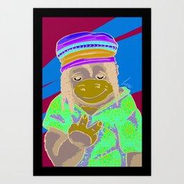 Gorrila Hippie Art Print