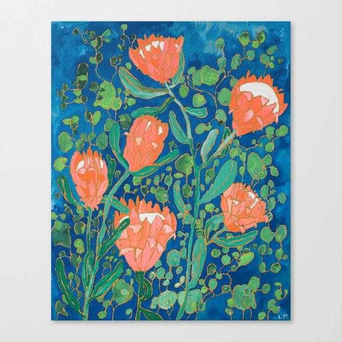 Coral Proteas on Blue Pattern Painting Leinwanddruck