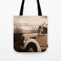 truck Tote Bags featuring Vintage Truck by Urlaub Photography