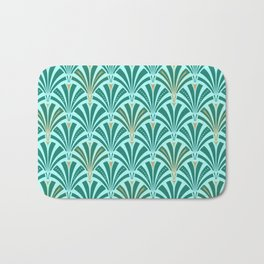 Art Deco Fan Pattern Turquoise on Aqua Bath Mat