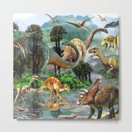 Jurassic dinosaurs drink in the river Metal Print