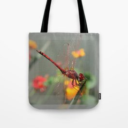 Red Skimmer or Firecracker Dragonfly With Lantana Background Tote Bag