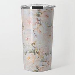 Vintage romantic blush pink ivory elegant rose floral Travel Mug