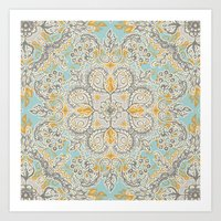 bedding Art Prints featuring Gypsy Floral in Soft Neutrals, Grey & Yellow on Sage by micklyn