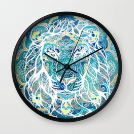 Lion line painting with pattern Wall Clock