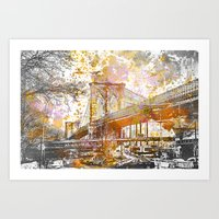 brooklyn bridge Art Prints featuring Brooklyn Bridge by LebensART