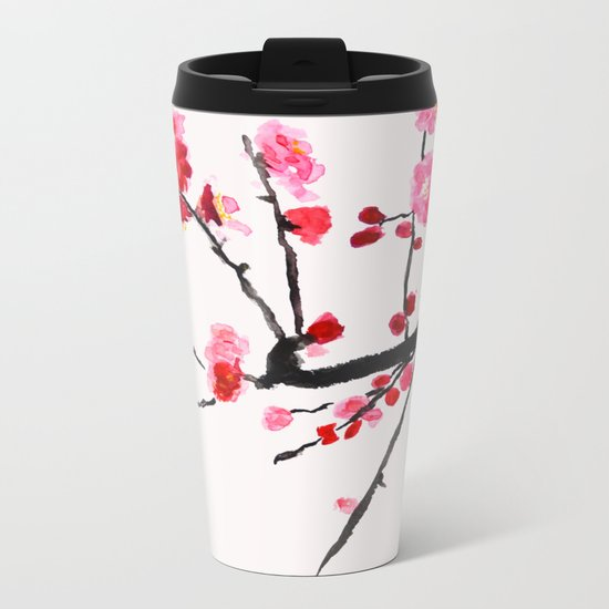 red plum flower red background Metal Travel Mug