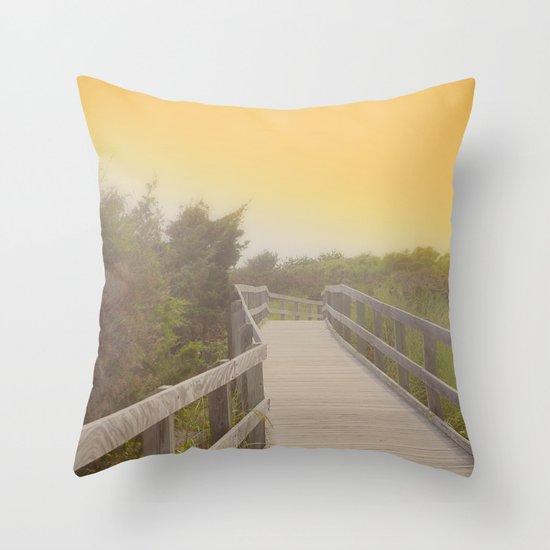 Boardwalk sunrise Throw Pillow