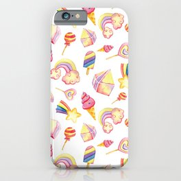 Pink yellow hand painted abstract sweet summer geometric pattern iPhone Case