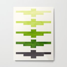 Ancient Aztec Inca Geometric Pattern Watercolor Sap Green Colorful Gouache Painting Metal Print