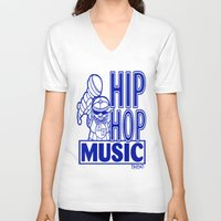 hip hop V-neck T-shirts featuring  HIP HOP MUSIC  DESIGN... by T.H. DESIGNZZ