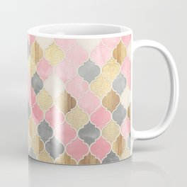 Silver Grey, Soft Pink, Wood & Gold Moroccan Pattern Coffee Mug