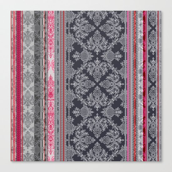 Burgundy, Pink, Navy & Grey Vintage Bohemian Wallpaper Canvas Print