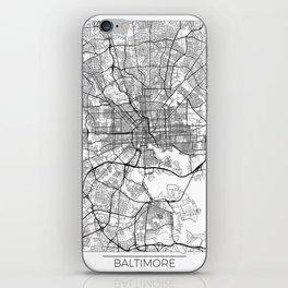 Baltimore Map White iPhone Skin
