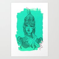 Fish Woman Art Print