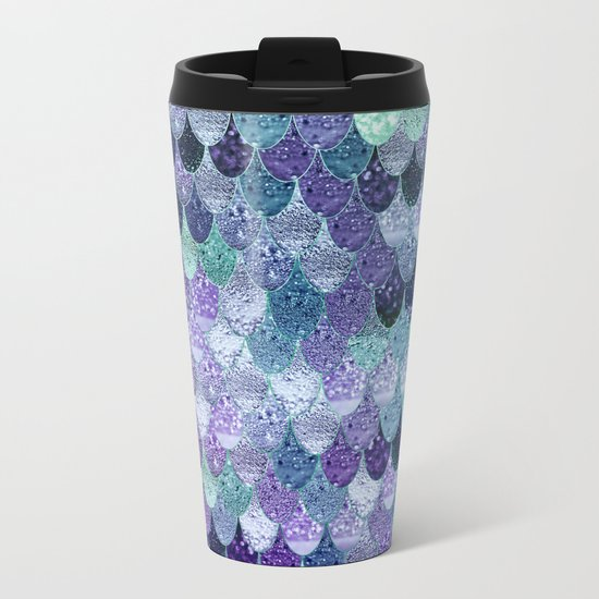 SUMMER MERMAID  Purple & Mint by Monika Strigel Metal Travel Mug