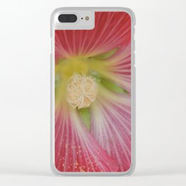 Heart of a Hollyhock Blossom Clear iPhone Case