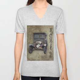 Antique Automobile and Old Route 66 Unisex V-Neck