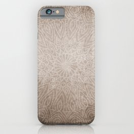 Beautiful ethnic mandala on neutral rustic texture iPhone Case
