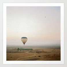 Ballon flight view of desert in sunrise Art Print