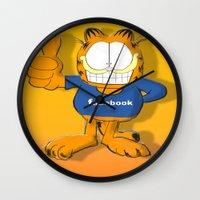 garfield Wall Clocks featuring GARFIELD by Dano77