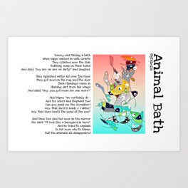 Animal Bath Art Print