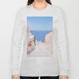 Santorini Greece Mamma Mia pink street travel photography Long Sleeve T-shirt
