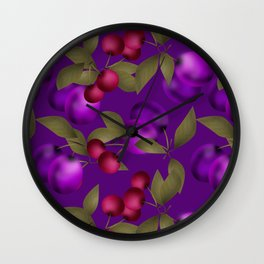 Fruit market . Plum and cherry . Wall Clock
