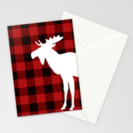 White Moose | Red Buffalo Plaid Stationery Cards
