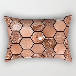 Rose gold hexaglam Rectangular Pillow