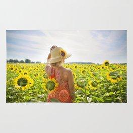 Woman in Sunflower Field Landscape Rug