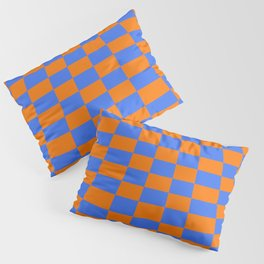 Warped perspective coloured checker board effect grid illustration orange and blue Pillow Sham