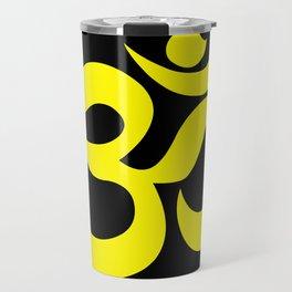 Yellow AUM / OM Reiki symbol on black background Travel Mug