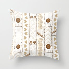 Scarves Knitted Buttoned - Beige Throw Pillow