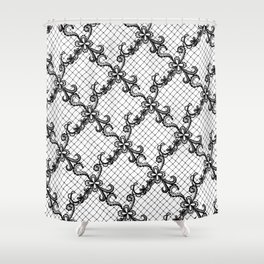 Floral Lace Hand Drawn in Black and White Shower Curtain