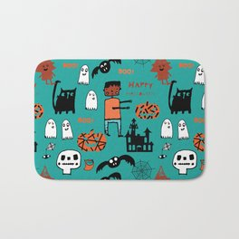 Cute Frankenstein and friends teal #halloween Bath Mat