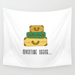 Adventure begins, suitcases are packed Wall Tapestry