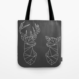 Geometric Stag and Doe (White on Grey) Tote Bag
